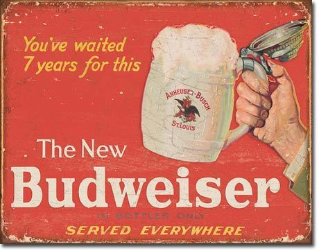 American Advertising Tin Sign - Vintage Wall Decor - Budweiser - The New