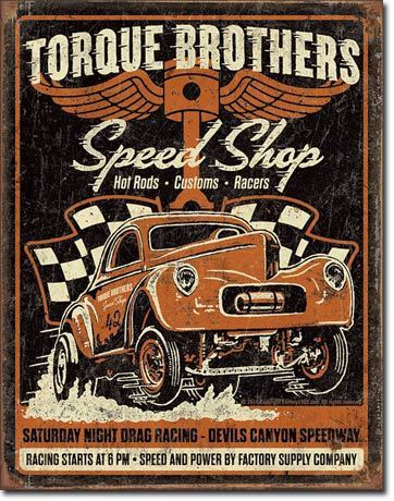 American Advertising Tin Sign - Vintage Wall Decor - Torque Bros - Gasser