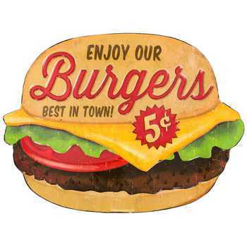 American Retro Tin Sign - Burgers 5 cents