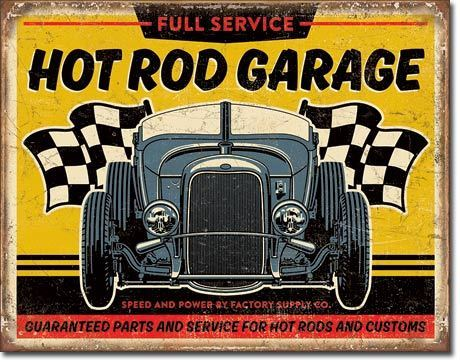American Advertising Tin Sign - Vintage Wall Decor - Hot Rod Garage - '32 Rod