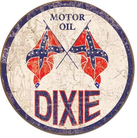 American Advertising Tin Sign - Vintage Wall Decor - Dixie Gas - Weathered Round
