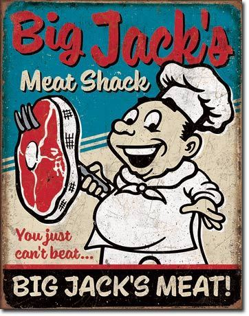 American Advertising Tin Sign - Vintage Wall Decor - Big Jack's Meats