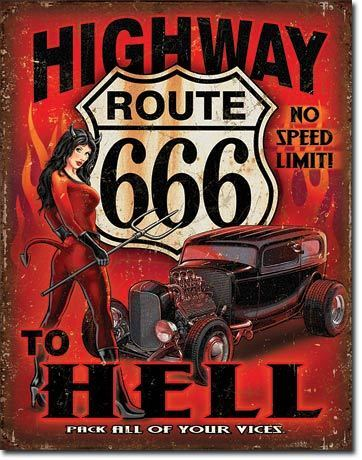 American Advertising Tin Sign - Vintage Wall Decor - Route 666 - Highway to Hell