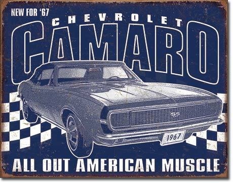 American Advertising Tin Sign - Vintage Wall Decor - Camaro - 1967 Muscle