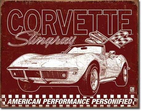 American Advertising Tin Sign - Vintage Wall Decor - Corvette - 69 StingRay