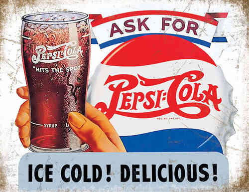 Plaque publicitaire Ask For a Pepsi