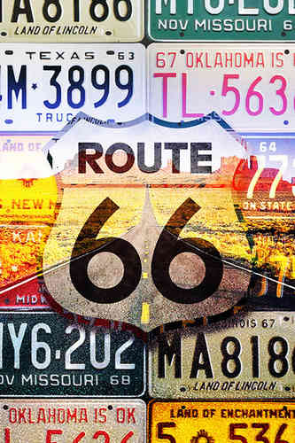 Poster ROUTE 66 License Plates Highway Road