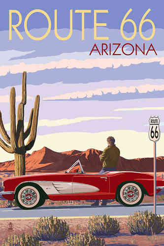 Poster ROUTE 66 - Arizona - Corvette with Red Rocks