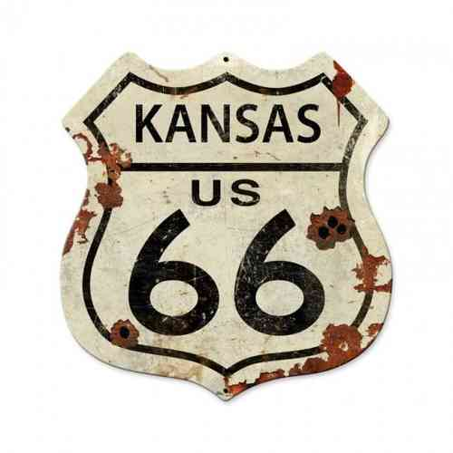 Kansas US 66 Shield Vintage Plasma