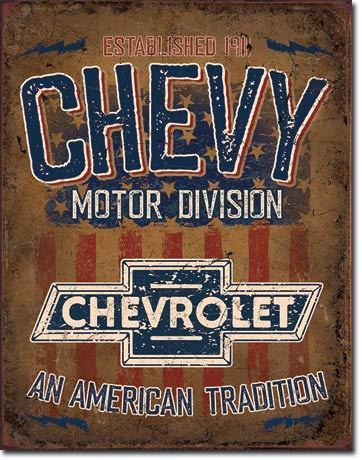 Chevy Motor Division Tin Sign