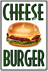 American Retro Tin Sign - Cheese Burgers