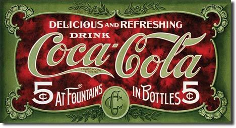 American Advertising Tin Sign -  Coca Cola 5 Cent