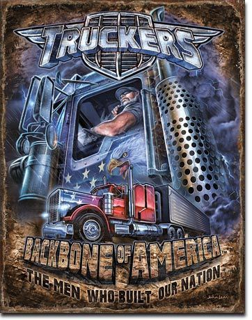 American Advertising Tin Sign - Truckers