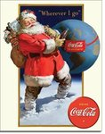 American Advertising Tin Sign - Coke Santa Globe