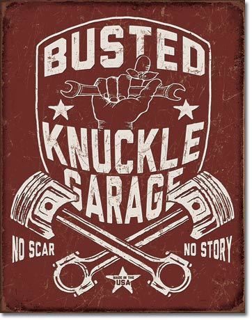 Plaque publicitaire américaine - Busted Knuckle Shield