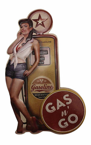 Plaque mural en relief Gas Pump Pin Up