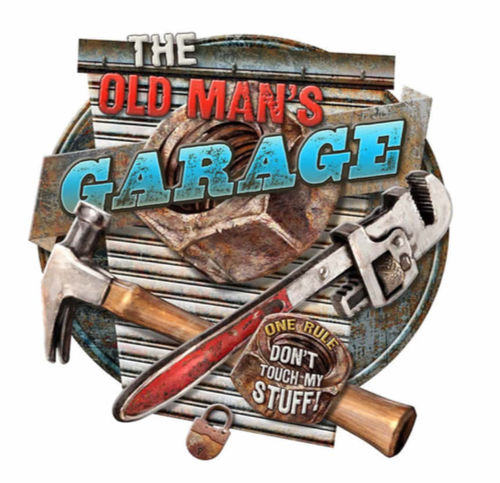 Shaped and Embossed Sign Old man's Garage