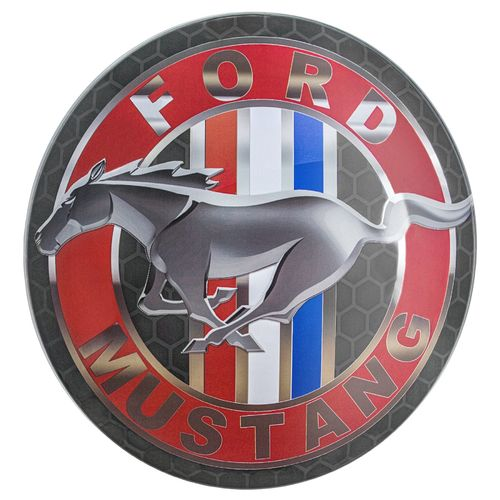 Metal Domed Sign - Mustang