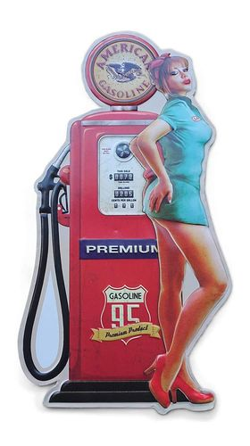 Plaque murale en relief Gas Pump