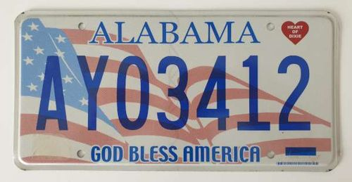 Genuine Licence Plate - USA - Flag ALABAMA