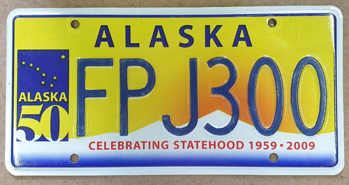 Genuine Licence Plate - USA - ALASKA 50 Years