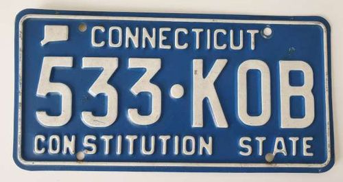Genuine American Licence PLate - CONNECTICUT