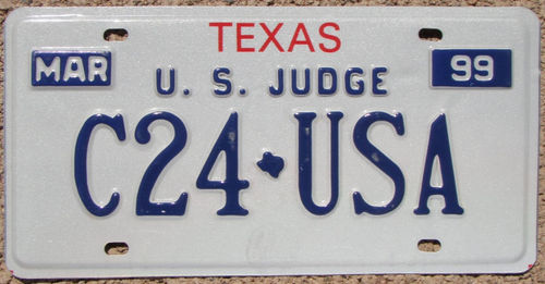 Authentique Plaque d'immatriculation américaine - TEXAS US JUDGE